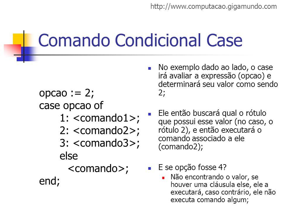 http://www.computacao.gigamundo.com Comando Condicional Case opcao := 2; case opcao of 1: ; 2: ; 3: ; else ; end; No exemplo dado ao lado, o case irá
