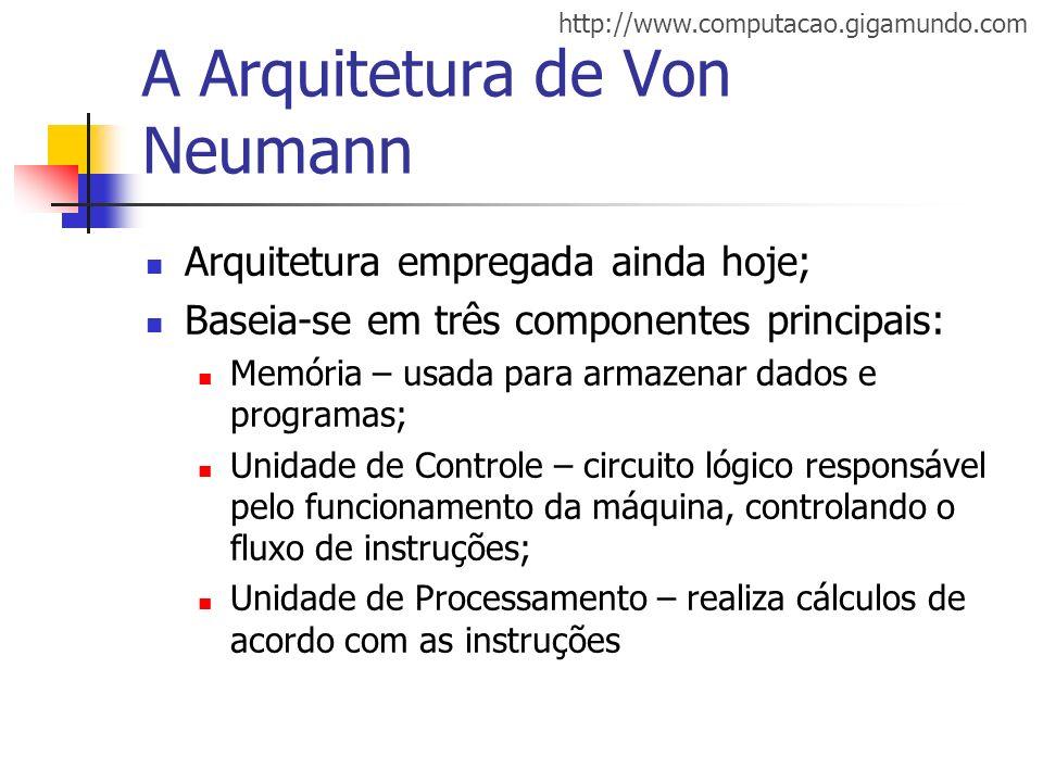 http://www.computacao.gigamundo.com A Arquitetura de Von Neumann Decompondo a Unidade de Processamento Unidade Lógico- Aritmética (ULA), onde são executadas as operações aritméticas; Registradores Instruction Counter; Instruction Register; Memory Address Register; Memory Buffer Register; Registradores de propósito geral.
