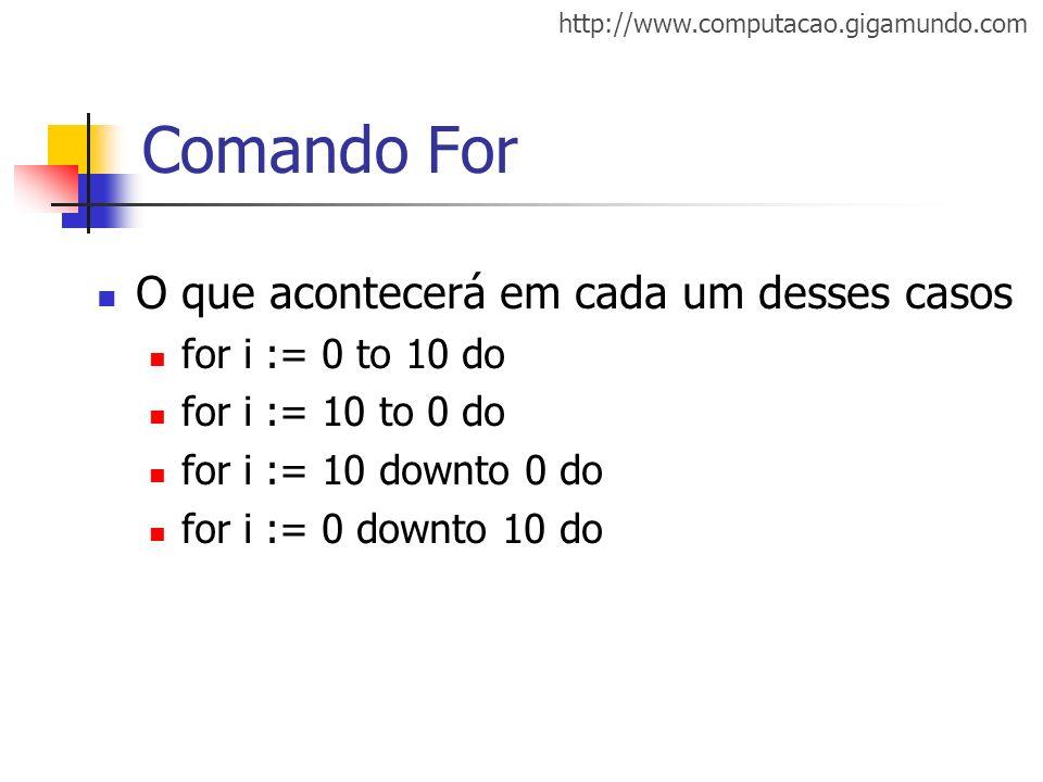 http://www.computacao.gigamundo.com Comando For O que acontecerá em cada um desses casos for i := 0 to 10 do for i := 10 to 0 do for i := 10 downto 0