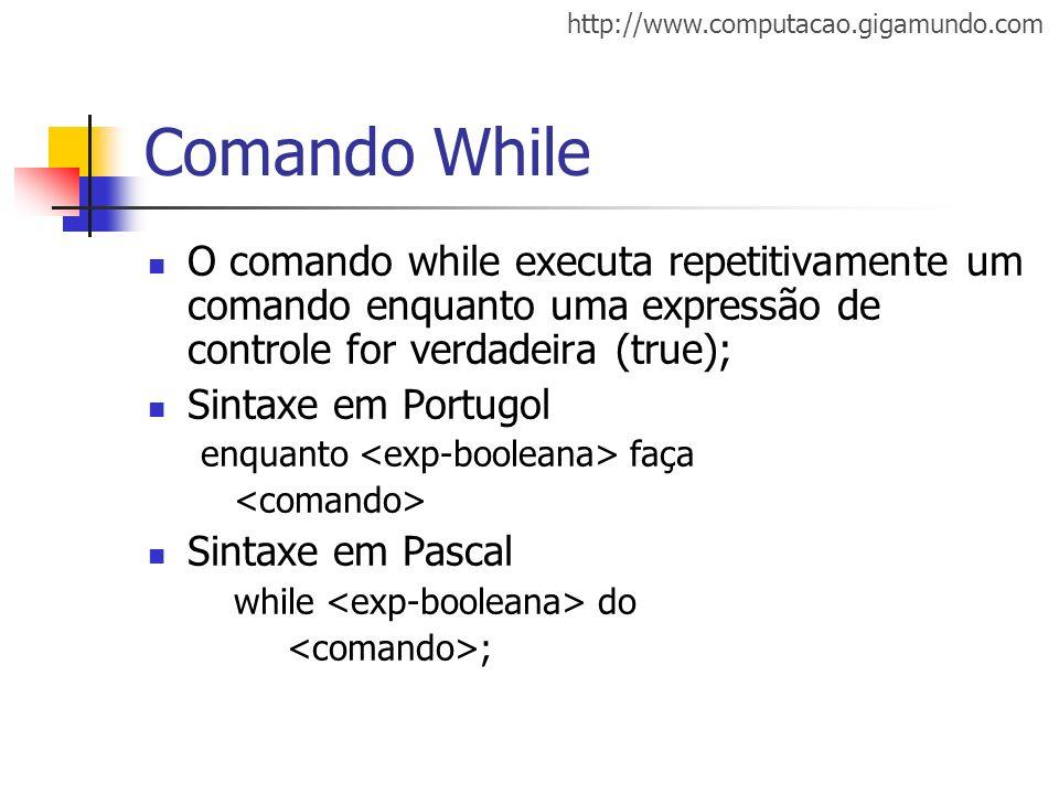 http://www.computacao.gigamundo.com Comando While O comando while executa repetitivamente um comando enquanto uma expressão de controle for verdadeira
