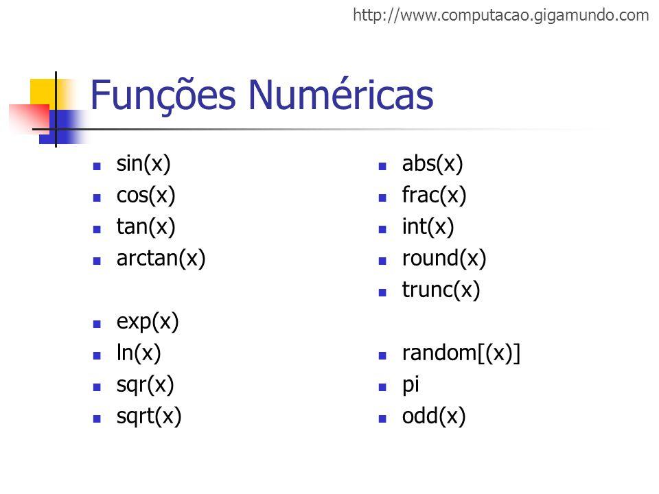 http://www.computacao.gigamundo.com Funções Numéricas sin(x) cos(x) tan(x) arctan(x) exp(x) ln(x) sqr(x) sqrt(x) abs(x) frac(x) int(x) round(x) trunc(