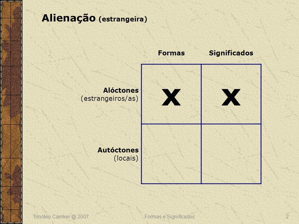 Timóteo Carriker @ 2007Formas e Significados3 FormasSignificados Alóctones (estrangeiros/as) Autóctones (locais) xx Permanência (nativismo)