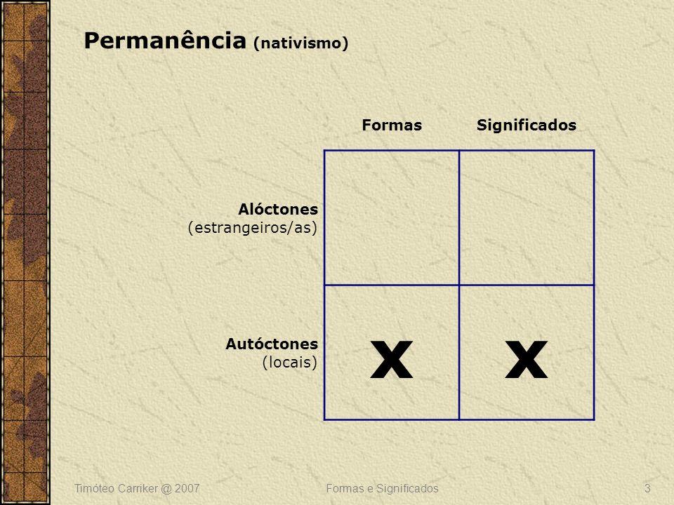 Timóteo Carriker @ 2007Formas e Significados4 FormasSignificados Alóctones (estrangeiros/as) x Autóctones (locais) x Sincretismo