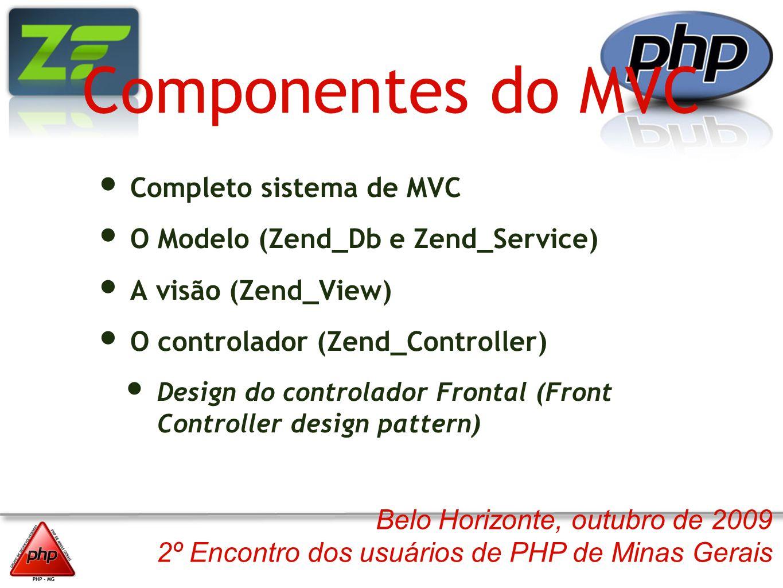 Belo Horizonte, outubro de 2009 2º Encontro dos usuários de PHP de Minas Gerais Componentes do MVC Completo sistema de MVC O Modelo (Zend_Db e Zend_Se