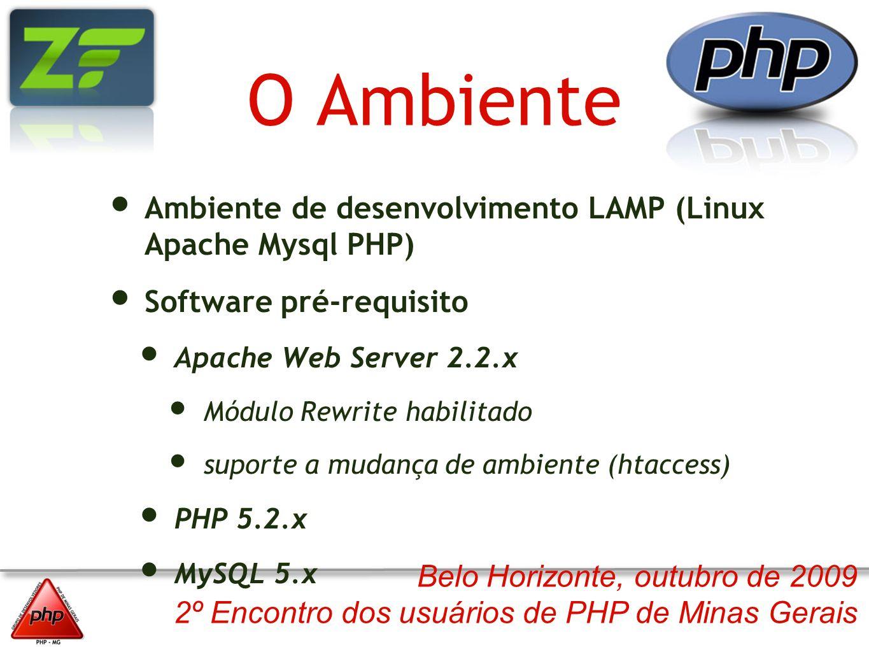 Belo Horizonte, outubro de 2009 2º Encontro dos usuários de PHP de Minas Gerais O Ambiente Ambiente de desenvolvimento LAMP (Linux Apache Mysql PHP) S
