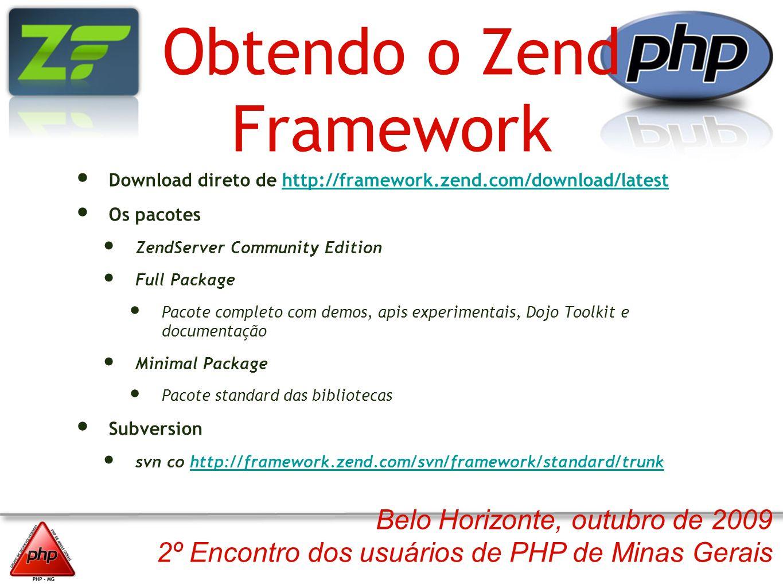 Belo Horizonte, outubro de 2009 2º Encontro dos usuários de PHP de Minas Gerais Obtendo o Zend Framework Download direto de http://framework.zend.com/