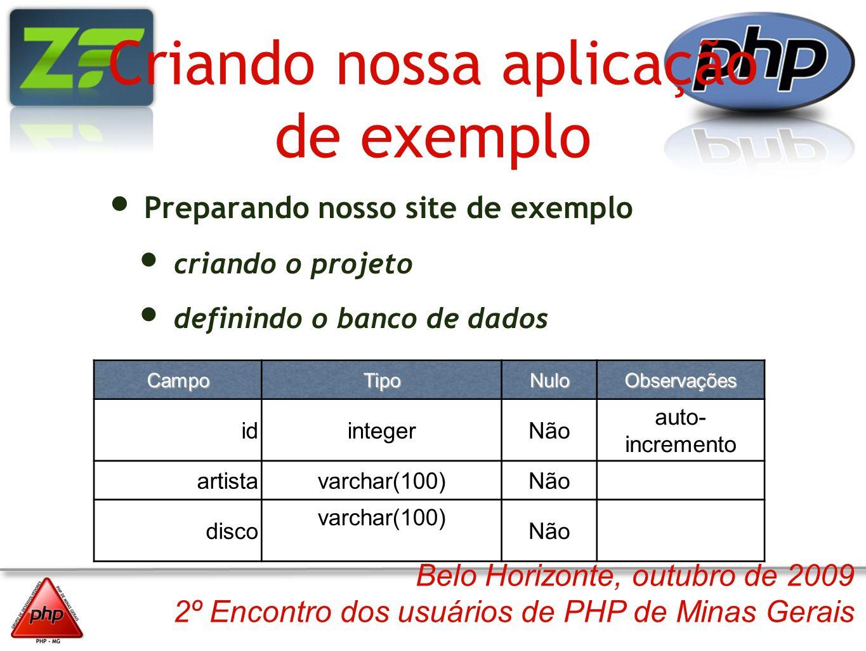 Belo Horizonte, outubro de 2009 2º Encontro dos usuários de PHP de Minas Gerais Criando nossa aplicação de exemplo Preparando nosso site de exemplo cr