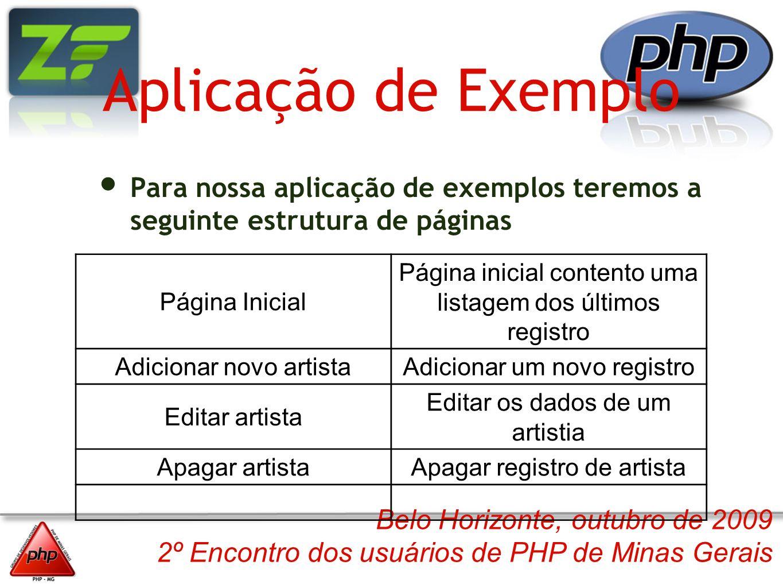 Belo Horizonte, outubro de 2009 2º Encontro dos usuários de PHP de Minas Gerais Aplicação de Exemplo Para nossa aplicação de exemplos teremos a seguin