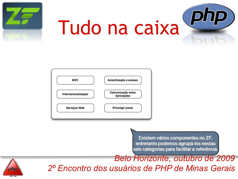 Belo Horizonte, outubro de 2009 2º Encontro dos usuários de PHP de Minas Gerais Tudo na caixa Existem vários componentes no ZF, entretanto podemos agr