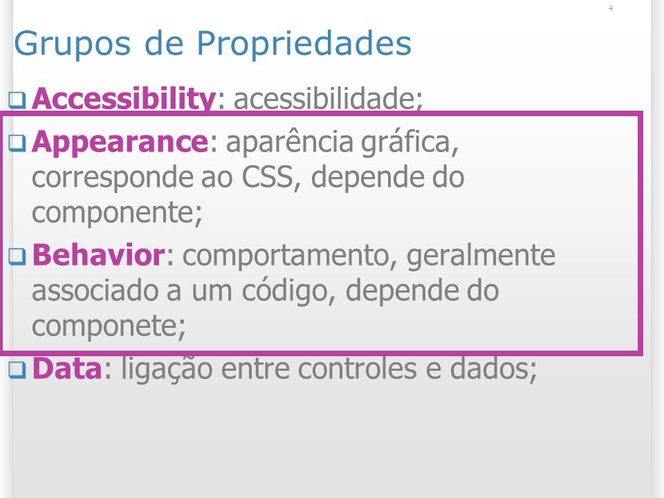 4 Grupos de Propriedades Accessibility: acessibilidade; Appearance: aparência gráfica, corresponde ao CSS, depende do componente; Behavior: comportame