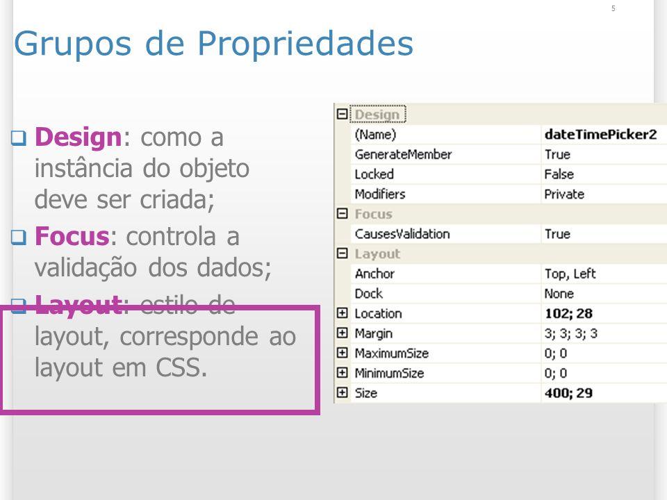 5 Grupos de Propriedades Design: como a instância do objeto deve ser criada; Focus: controla a validação dos dados; Layout: estilo de layout, correspo