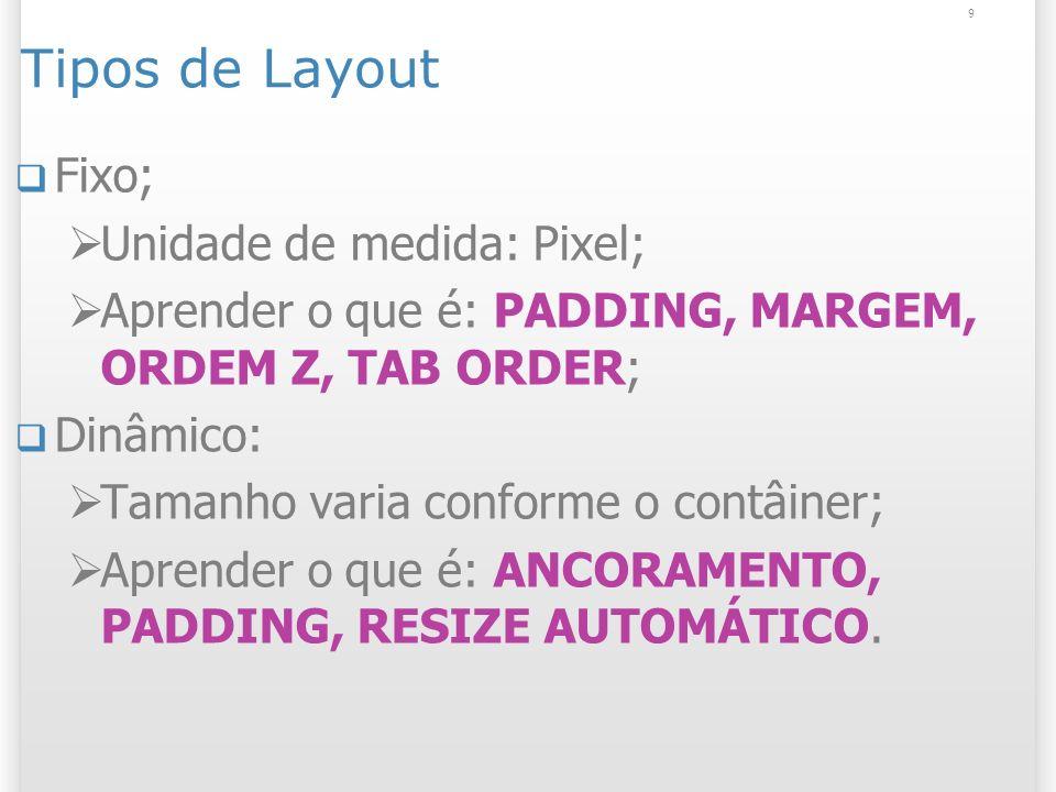 9 Tipos de Layout Fixo; Unidade de medida: Pixel; Aprender o que é: PADDING, MARGEM, ORDEM Z, TAB ORDER; Dinâmico: Tamanho varia conforme o contâiner;