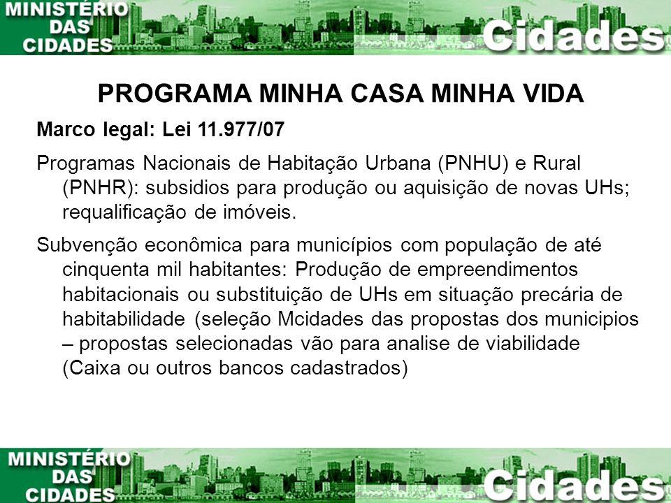 PROGRAMA MINHA CASA MINHA VIDA Marco legal: Lei 11.977/07 Programas Nacionais de Habitação Urbana (PNHU) e Rural (PNHR): subsidios para produção ou aq