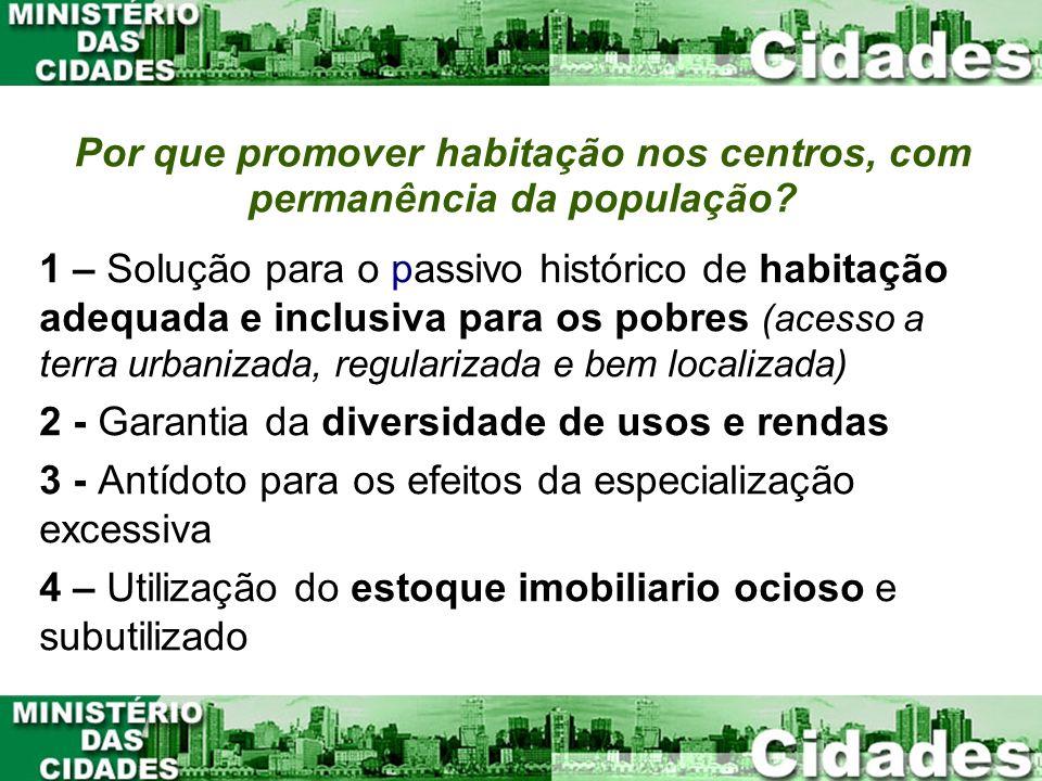 Por que promover habitação nos centros, com permanência da população? 1 – Solução para o passivo histórico de habitação adequada e inclusiva para os p