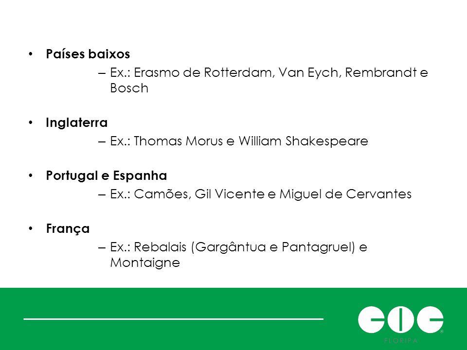 Expansão do movimento Países baixos – Ex.: Erasmo de Rotterdam, Van Eych, Rembrandt e Bosch Inglaterra – Ex.: Thomas Morus e William Shakespeare Portu