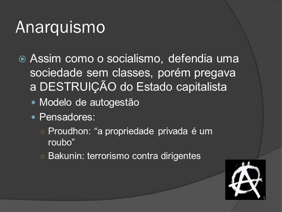 Anarquismo Assim como o socialismo, defendia uma sociedade sem classes, porém pregava a DESTRUIÇÃO do Estado capitalista Modelo de autogestão Pensador