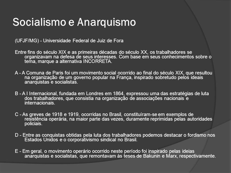 Socialismo e Anarquismo ( UFJF/MG) - Universidade Federal de Juiz de Fora Entre fins do século XIX e as primeiras décadas do século XX, os trabalhador