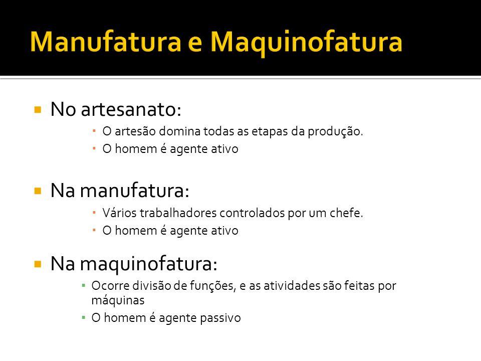 No artesanato: O artesão domina todas as etapas da produção. O homem é agente ativo Na manufatura: Vários trabalhadores controlados por um chefe. O ho