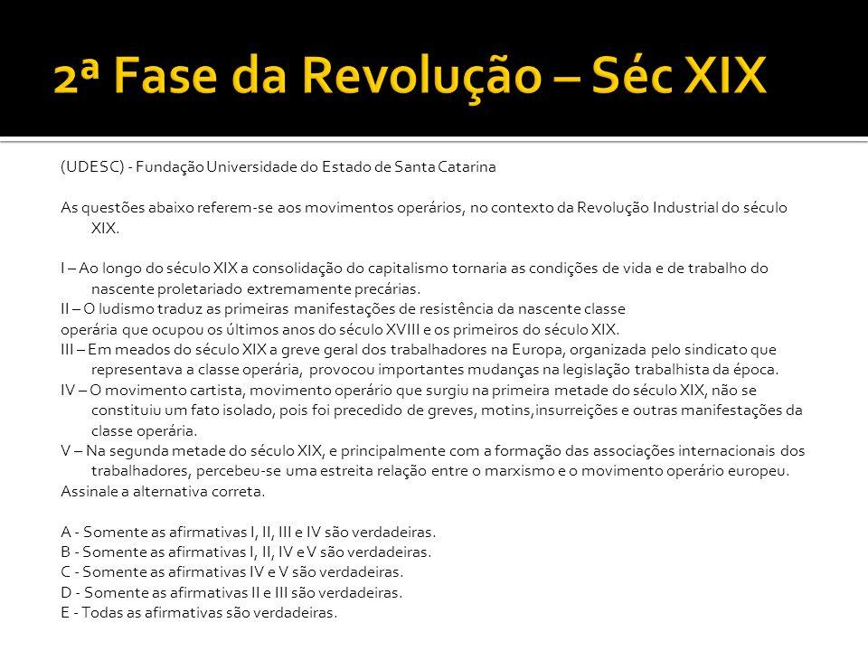 (UDESC) - Fundação Universidade do Estado de Santa Catarina As questões abaixo referem-se aos movimentos operários, no contexto da Revolução Industria