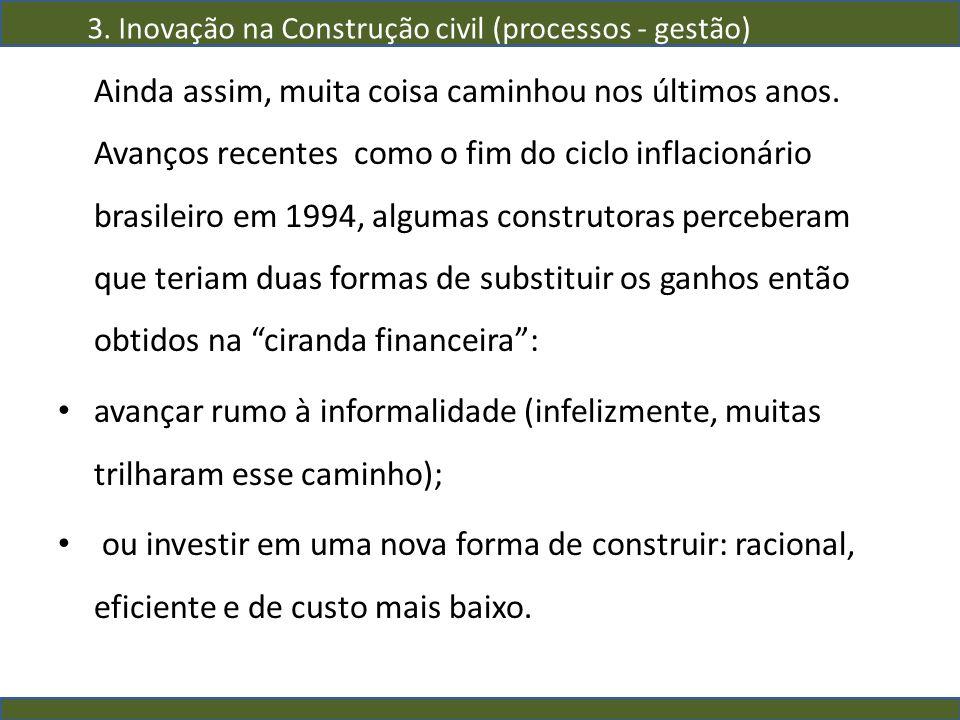 Ainda assim, muita coisa caminhou nos últimos anos. Avanços recentes como o fim do ciclo inflacionário brasileiro em 1994, algumas construtoras perceb