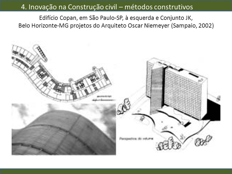 Edifício Copan, em São Paulo-SP, à esquerda e Conjunto JK, Belo Horizonte-MG projetos do Arquiteto Oscar Niemeyer (Sampaio, 2002) 4. Inovação na Const
