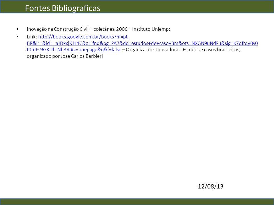 Fontes Bibliograficas Inovação na Construção Civil – coletânea 2006 – Instituto Uniemp; Link: http://books.google.com.br/books?hl=pt- BR&lr=&id=_aJDxx