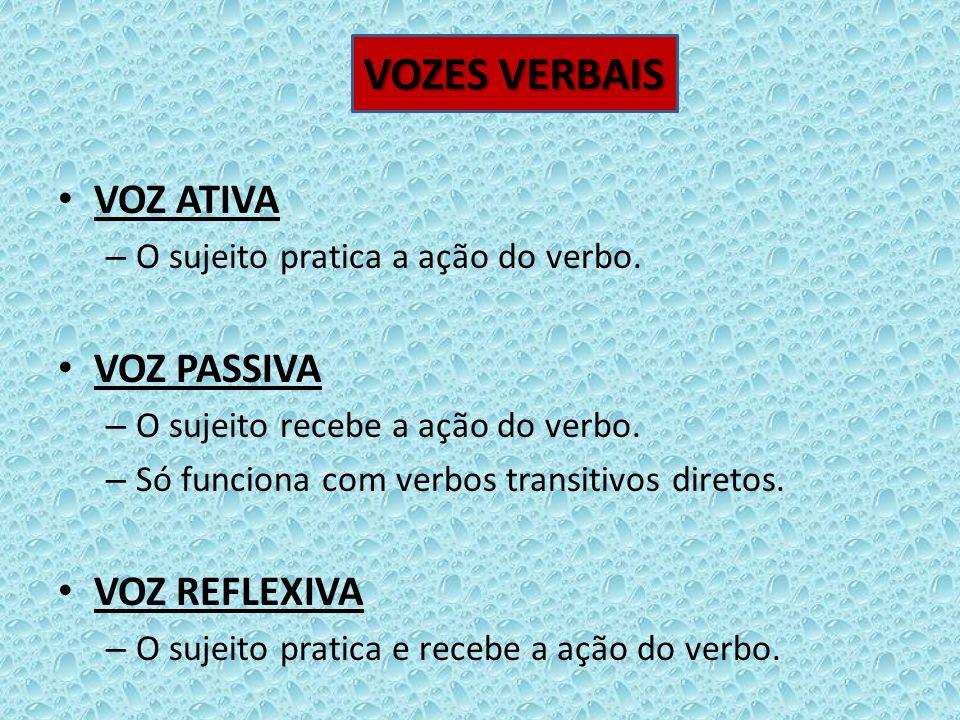 VOZ ATIVA – O sujeito pratica a ação do verbo. VOZ PASSIVA – O sujeito recebe a ação do verbo. – Só funciona com verbos transitivos diretos. VOZ REFLE