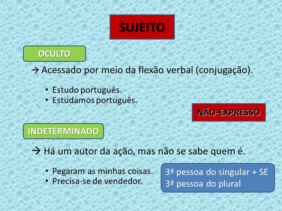Acessado por meio da flexão verbal (conjugação). Estudo português. Estudamos português. Há um autor da ação, mas não se sabe quem é. Pegaram as minhas