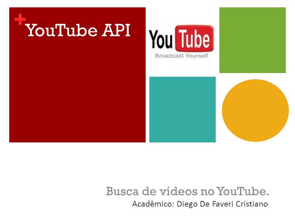 + YouTube API Busca de vídeos no YouTube. Acadêmico: Diego De Faveri Cristiano