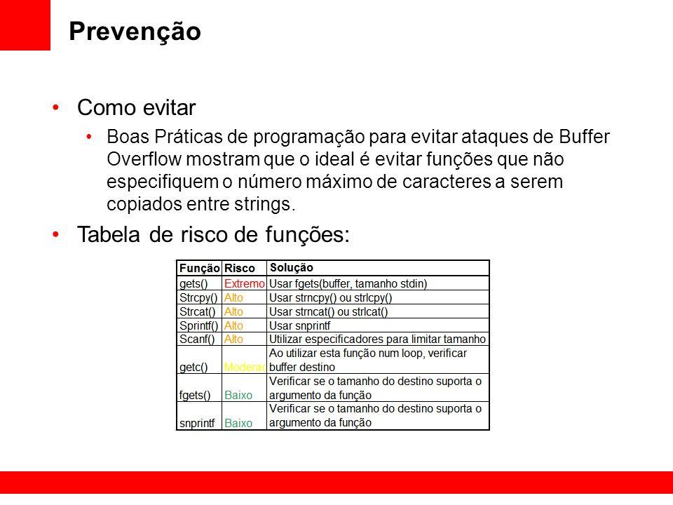 Prevenção Como evitar Boas Práticas de programação para evitar ataques de Buffer Overflow mostram que o ideal é evitar funções que não especifiquem o