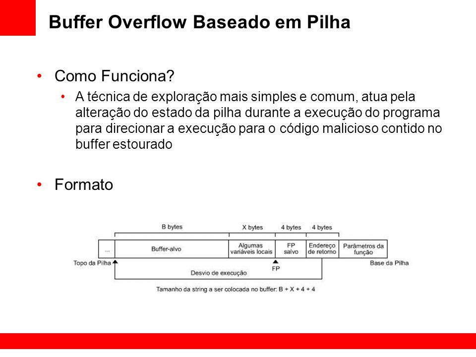 Buffer Overflow Baseado em Pilha Como Funciona? A técnica de exploração mais simples e comum, atua pela alteração do estado da pilha durante a execuçã