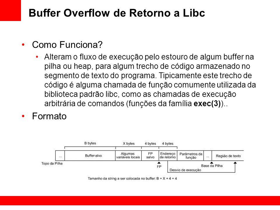 Buffer Overflow de Retorno a Libc Como Funciona? Alteram o fluxo de execução pelo estouro de algum buffer na pilha ou heap, para algum trecho de códig