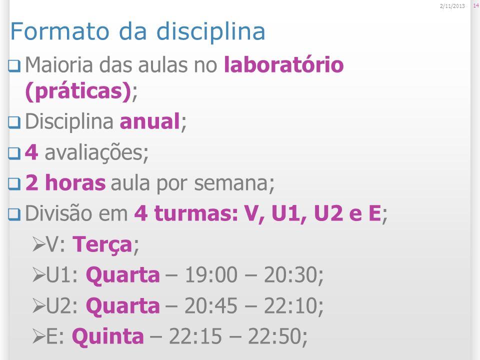 Formato da disciplina Maioria das aulas no laboratório (práticas); Disciplina anual; 4 avaliações; 2 horas aula por semana; Divisão em 4 turmas: V, U1