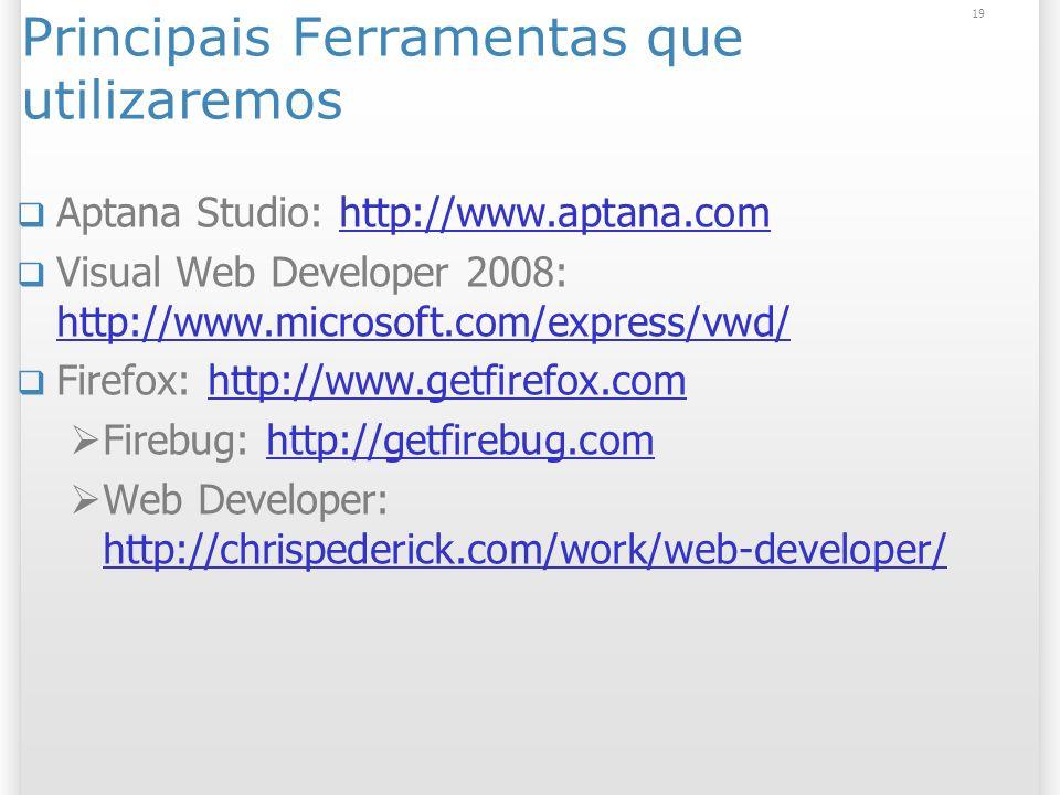 19 Principais Ferramentas que utilizaremos Aptana Studio: http://www.aptana.comhttp://www.aptana.com Visual Web Developer 2008: http://www.microsoft.c