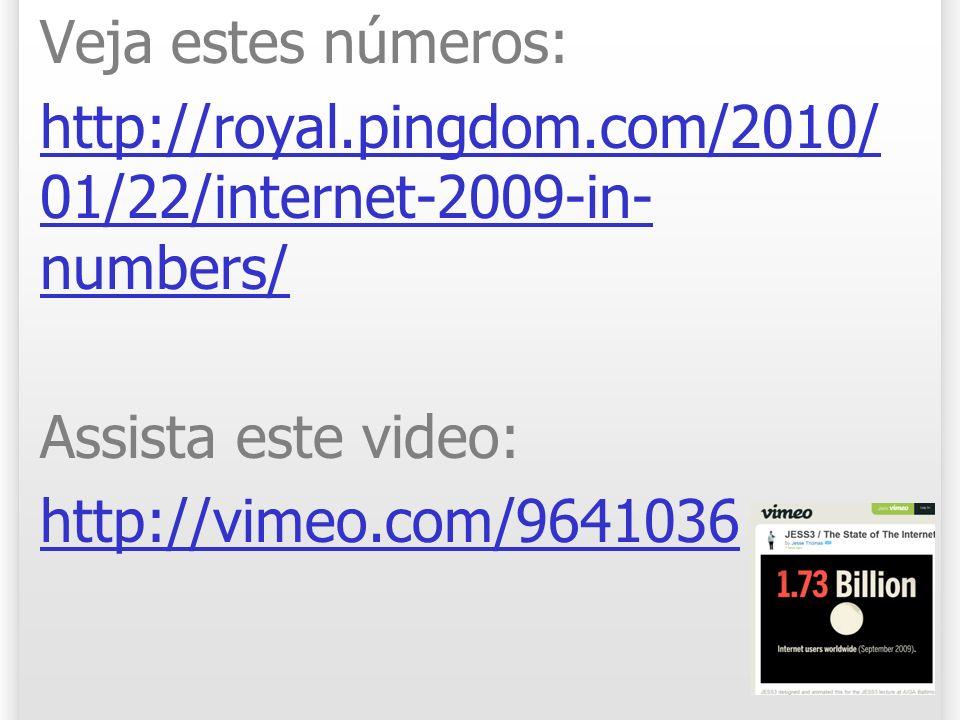 Veja estes números: http://royal.pingdom.com/2010/ 01/22/internet-2009-in- numbers/ Assista este video: http://vimeo.com/9641036