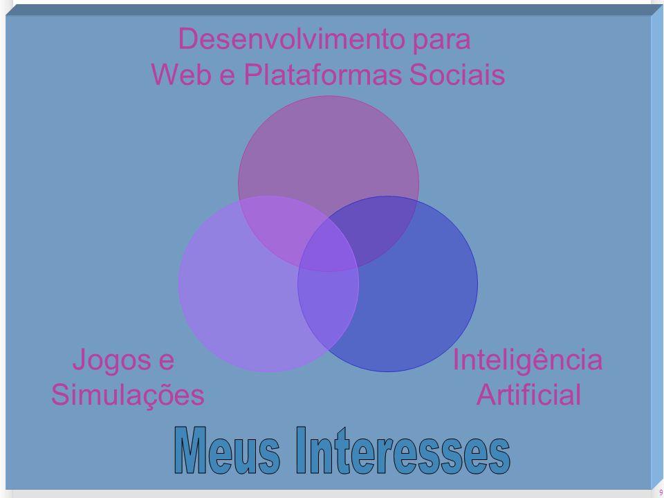 9 2/11/2013 Desenvolvimento para Web e Plataformas Sociais Inteligência Artificial Jogos e Simulações