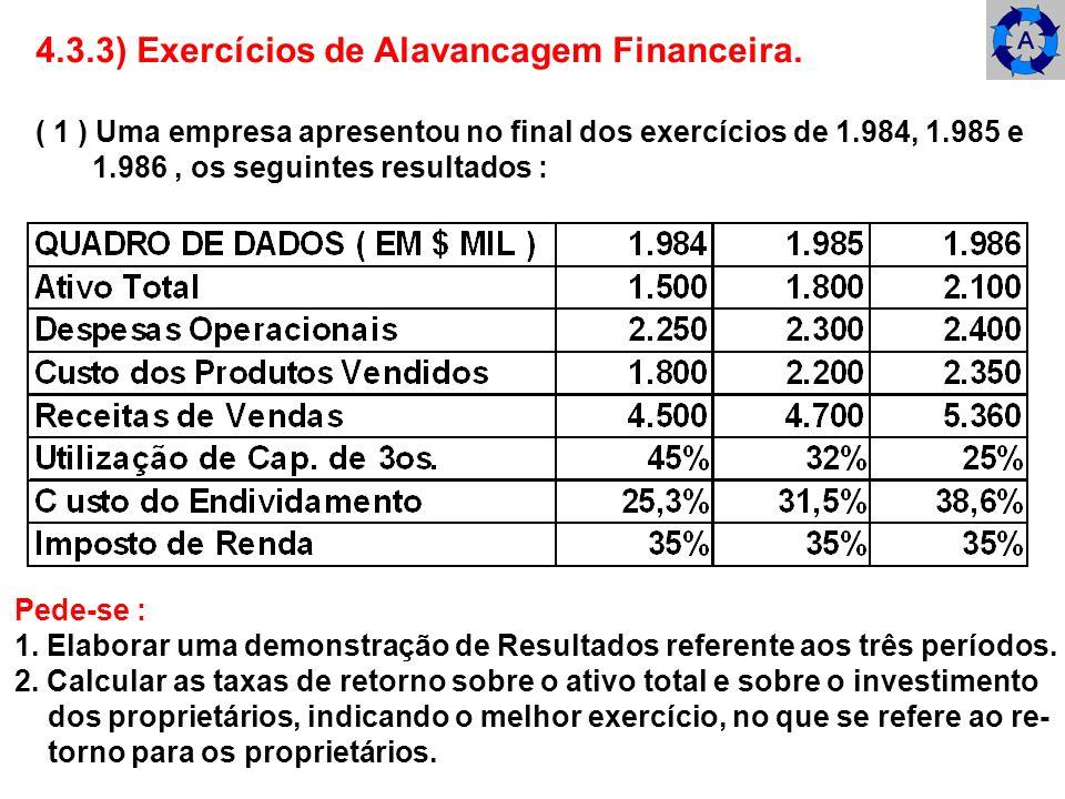 4.3.3) Exercícios de Alavancagem Financeira. ( 1 ) Uma empresa apresentou no final dos exercícios de 1.984, 1.985 e 1.986, os seguintes resultados : P