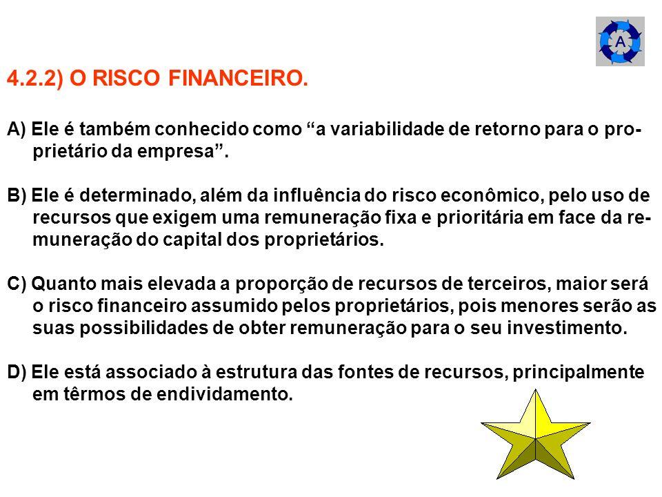 4.2.2) O RISCO FINANCEIRO. A) Ele é também conhecido como a variabilidade de retorno para o pro- prietário da empresa. B) Ele é determinado, além da i
