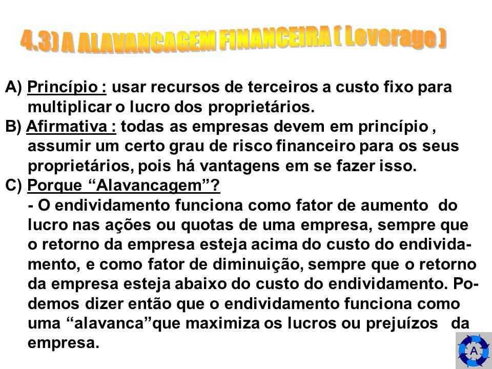4.3.4) GRAU DE ALAVANCAGEM FINANCEIRA ( GAF ) --> A seguinte equação representa uma alternativa de medir o GAF : Variação percentual no LPA GAF = Variação percentual no LAJIR --> sempre que a variação percentual no LPA, resultante de uma dada variação no LAJIR, for maior que a variação per- centual no LAJIR, verifica-se a existência da alavancagem financeira; isto significa que sempre que o GAF for maior do que 1, há alavancagem financeira