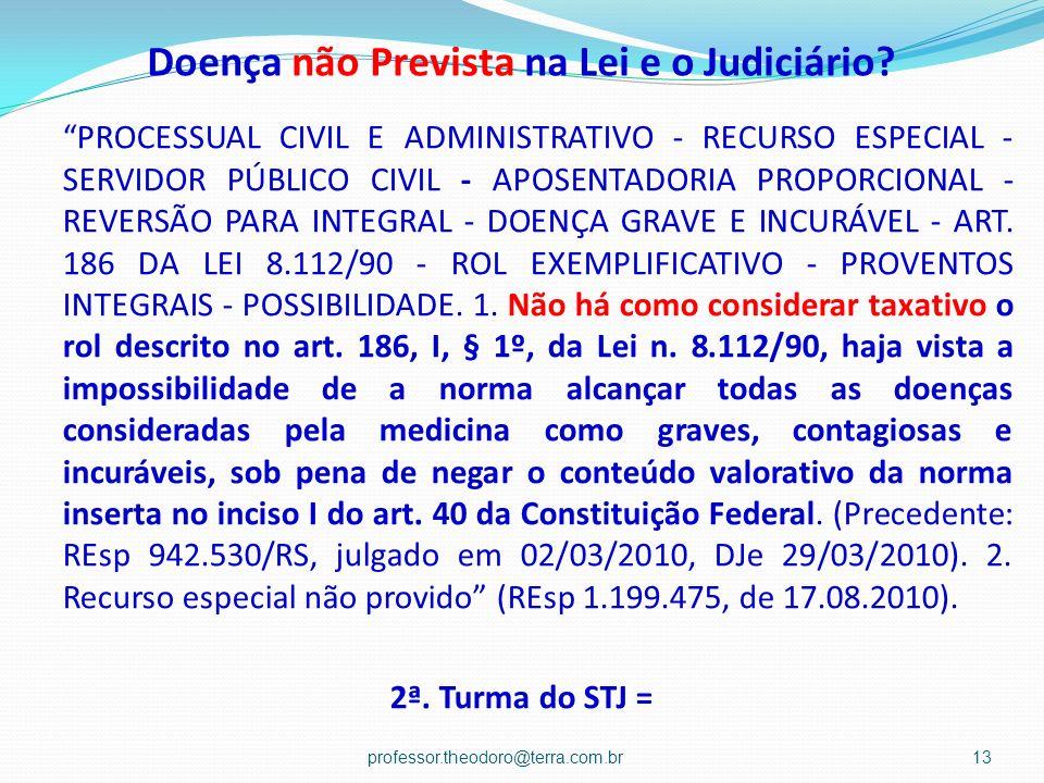 Doença não Prevista na Lei e o Judiciário? PROCESSUAL CIVIL E ADMINISTRATIVO - RECURSO ESPECIAL - SERVIDOR PÚBLICO CIVIL - APOSENTADORIA PROPORCIONAL