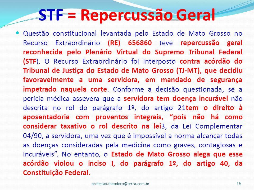 STF = Repercussão Geral Questão constitucional levantada pelo Estado de Mato Grosso no Recurso Extraordinário (RE) 656860 teve repercussão geral recon