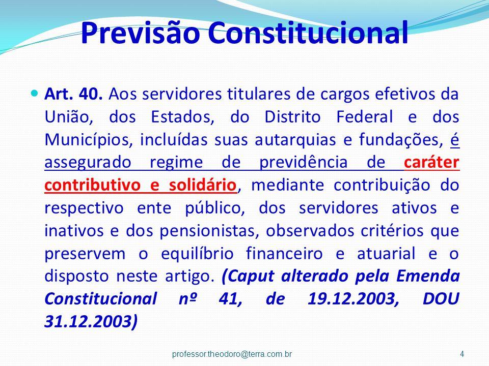 Previsão Constitucional Art. 40. Aos servidores titulares de cargos efetivos da União, dos Estados, do Distrito Federal e dos Municípios, incluídas su