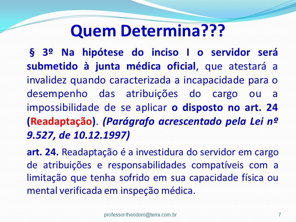 Quem Determina??? § 3º Na hipótese do inciso I o servidor será submetido à junta médica oficial, que atestará a invalidez quando caracterizada a incap