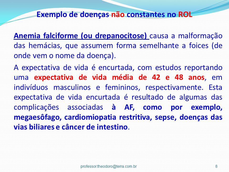 Exemplo de doenças não constantes no ROL Anemia falciforme (ou drepanocitose) causa a malformação das hemácias, que assumem forma semelhante a foices