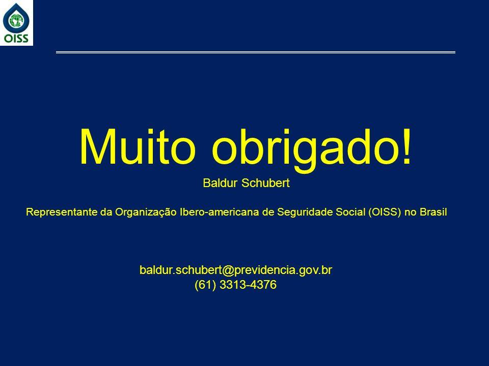 Muito obrigado! Baldur Schubert Representante da Organização Ibero-americana de Seguridade Social (OISS) no Brasil baldur.schubert@previdencia.gov.br