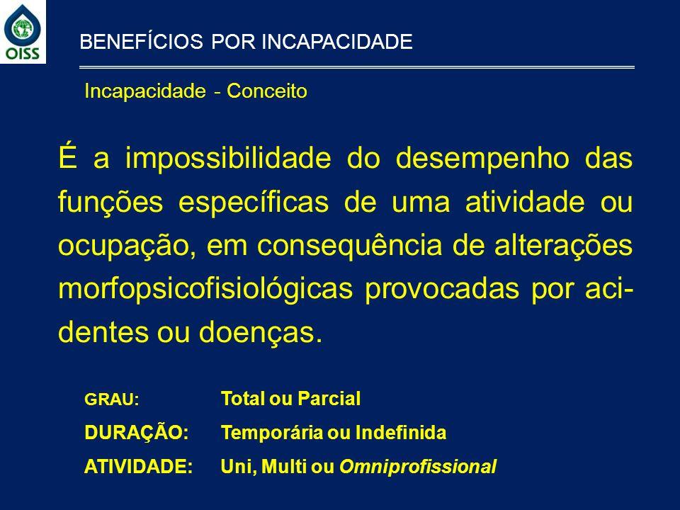 Incapacidade - Conceito BENEFÍCIOS POR INCAPACIDADE É a impossibilidade do desempenho das funções específicas de uma atividade ou ocupação, em consequ