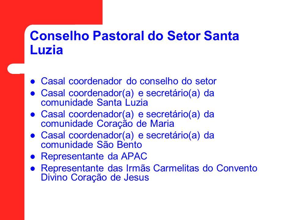 Conselho Pastoral do Setor Santa Luzia Casal coordenador do conselho do setor Casal coordenador(a) e secretário(a) da comunidade Santa Luzia Casal coo