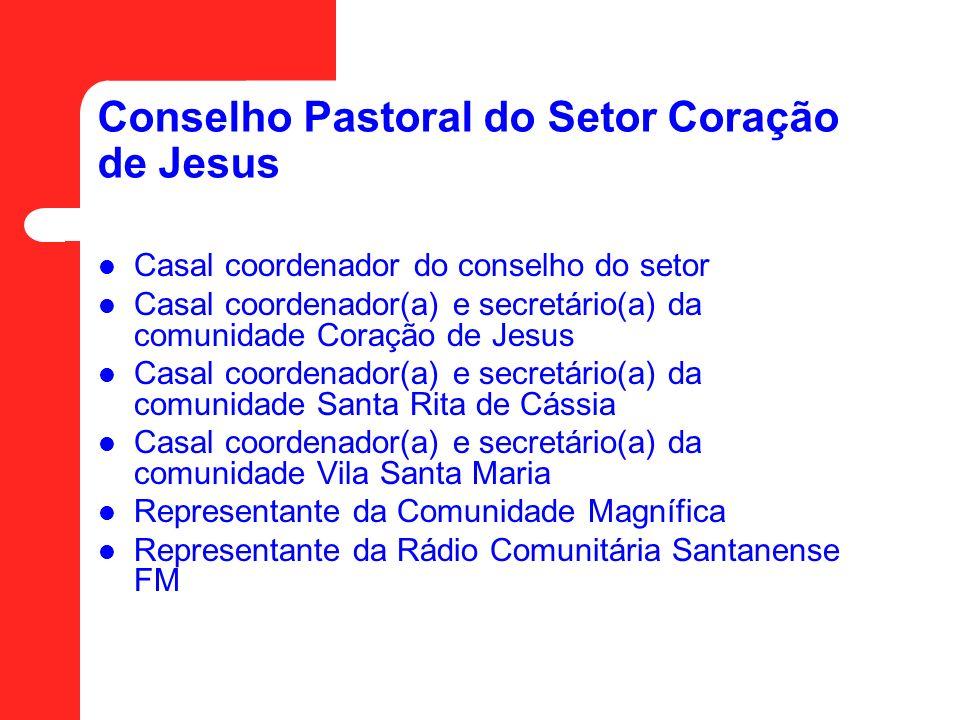 Conselho Pastoral do Setor Coração de Jesus Casal coordenador do conselho do setor Casal coordenador(a) e secretário(a) da comunidade Coração de Jesus