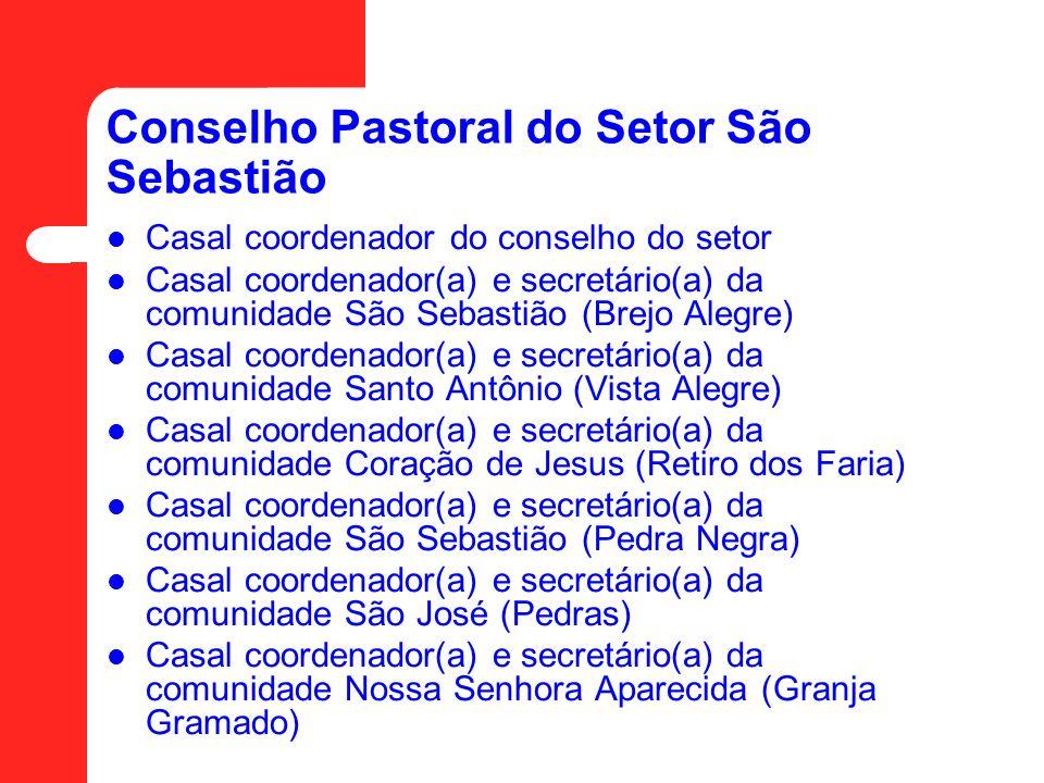 Conselho Pastoral do Setor São Sebastião Casal coordenador do conselho do setor Casal coordenador(a) e secretário(a) da comunidade São Sebastião (Brej