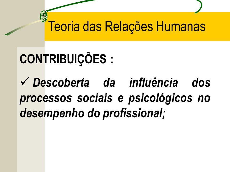 CONTRIBUIÇÕES : Descoberta da influência dos processos sociais e psicológicos no desempenho do profissional; Teoria das Relações Humanas